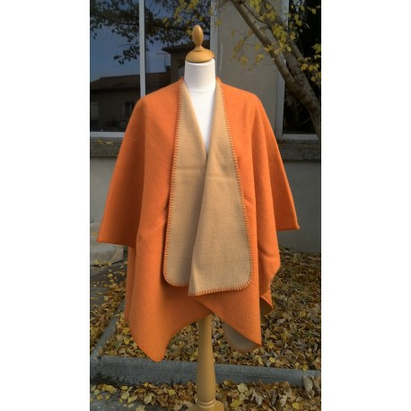 Cape double face mandarine camel