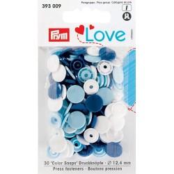 Boutons pression - Mélange multicolore bleu