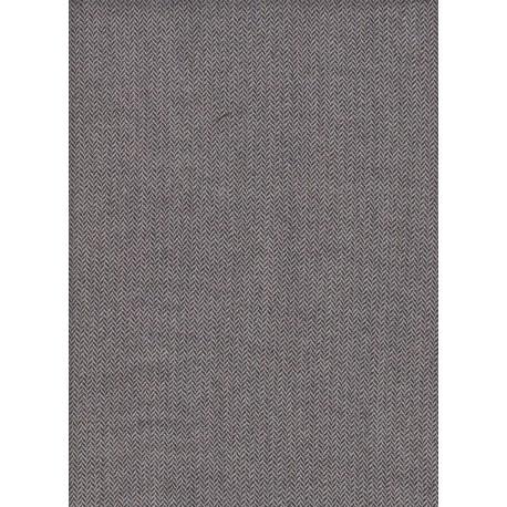 Flanelle Pure Laine Peignée - Chevron noir ecru