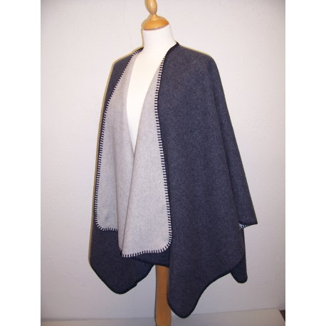 Cape double face marine gris clair